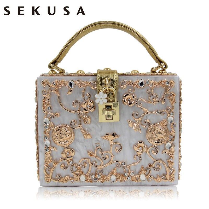 Moda Prom tarde del bolso del diamante Bolsa de Embrague de la flor hollow alivi