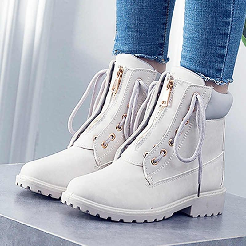 32f86ee8a7b9 Модные зимние женские ботинки с перекрестной шнуровкой, хит 2019, стильные  ...