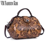 VM FASHION KISS Genuine Leather Retro Embossing Doctor Handbag Flower Shoulder Bag Female Crossbody Bag Women
