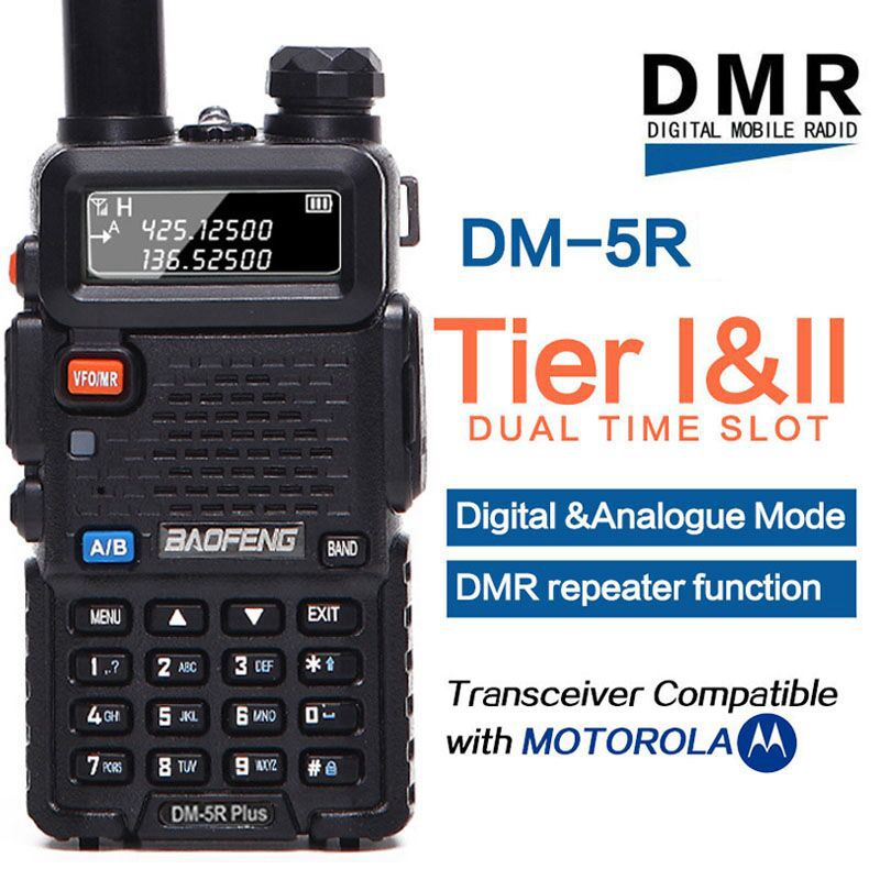 Baofeng DM-5R plus Tier1 Tier2 talkie walkie numérique DMR Dual time slot Two-way radio VHF/UHF radio bi-bande Répéteur DM5R plus