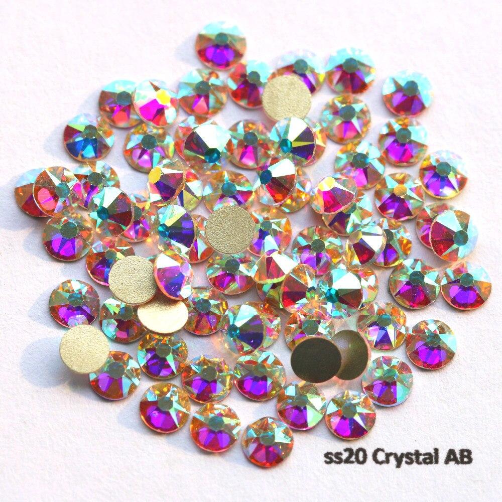 1440 Stks/partij Aaa Nieuwe Facted (8 Grote + 8 Kleine) Ss20 (4.8-5.0mm) Crystal Ab Nail Art Lijm Op Niet-hotfix Steentjes Modieuze (In) Stijl;