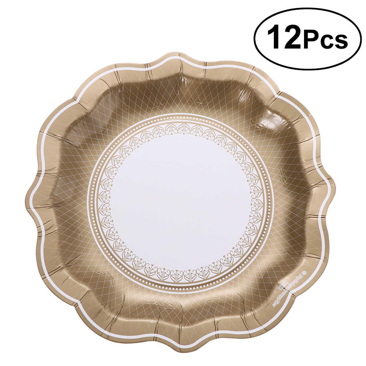 ROSENICE 12 adet tek kullanımlık parti plakaları avrupa tarzı kağıt tabaklar parti sofra piknik barbekü partisi