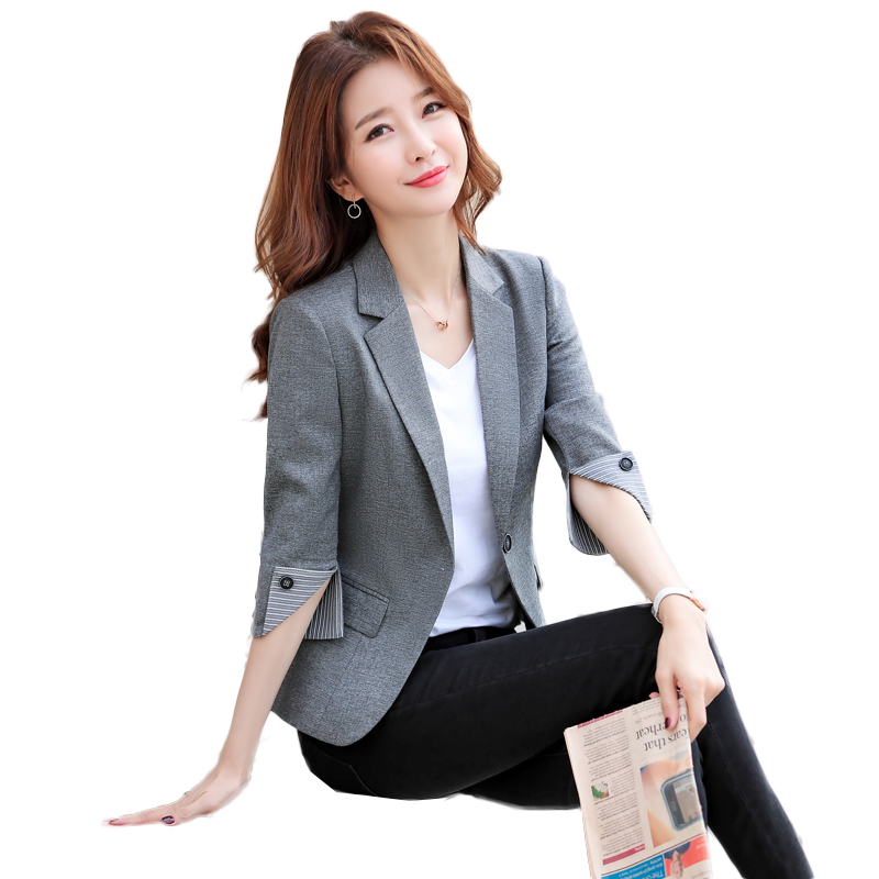 Ladies Blazer Three Quarter Sleeve Blazer Women Suit jacket Female Feminine Blazer Femme Black gray khaki