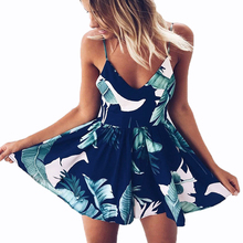 2018 Summer Rompers Womens Jumpsuit Floral Printed Short Playsuits Deep V-Neck Sling Female Bodysuits Sexy Boho Beach Shorts