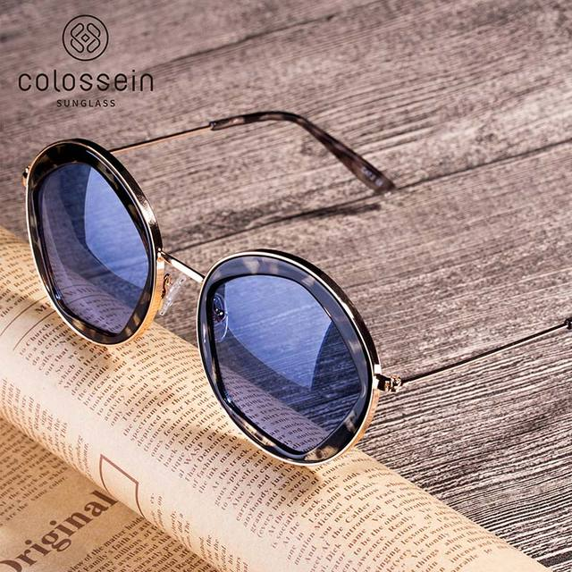 COLOSSEIN Classic Sunglasses Women Fashion Formal Vintage Sunglasses Personality Clamshell Glasses Metal Punk Sunglasses UV400