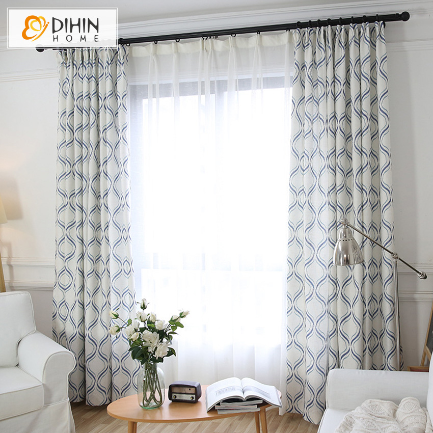 Dihin Home White Color Jacquard Printed Blackout Curtain Sheer Curtains For Living Room 1 Panel