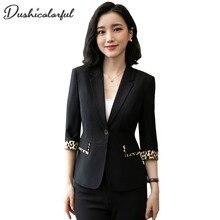 Dushicolorful women blazers and jackets suit coat green 2019 egelant slim Single Button Office Lady Leopard stitching work wear