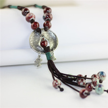 Tassel Long Necklaces Ceramic Round Beads Pendants Double Fish Chain Rope Colar Stone Charm Statement Women Sweater Jewelry Gift