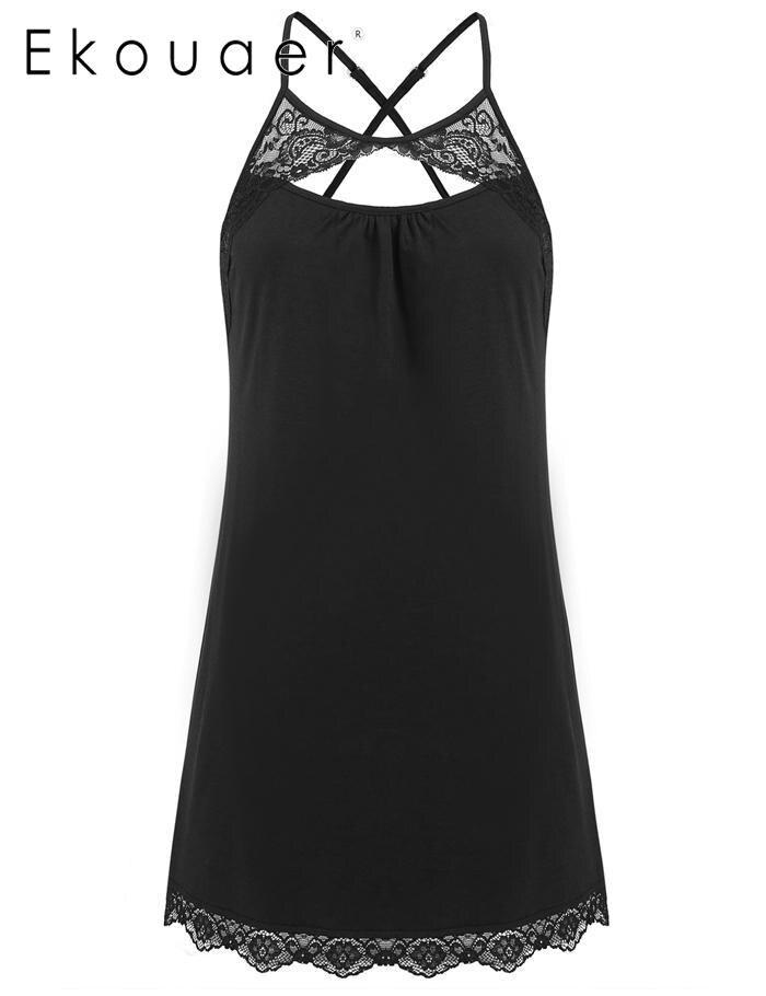 Ekouaer Trimmed Chemises Lingerie Mini Babydoll Sleepwear Strappy Lace Women Sleep-dress