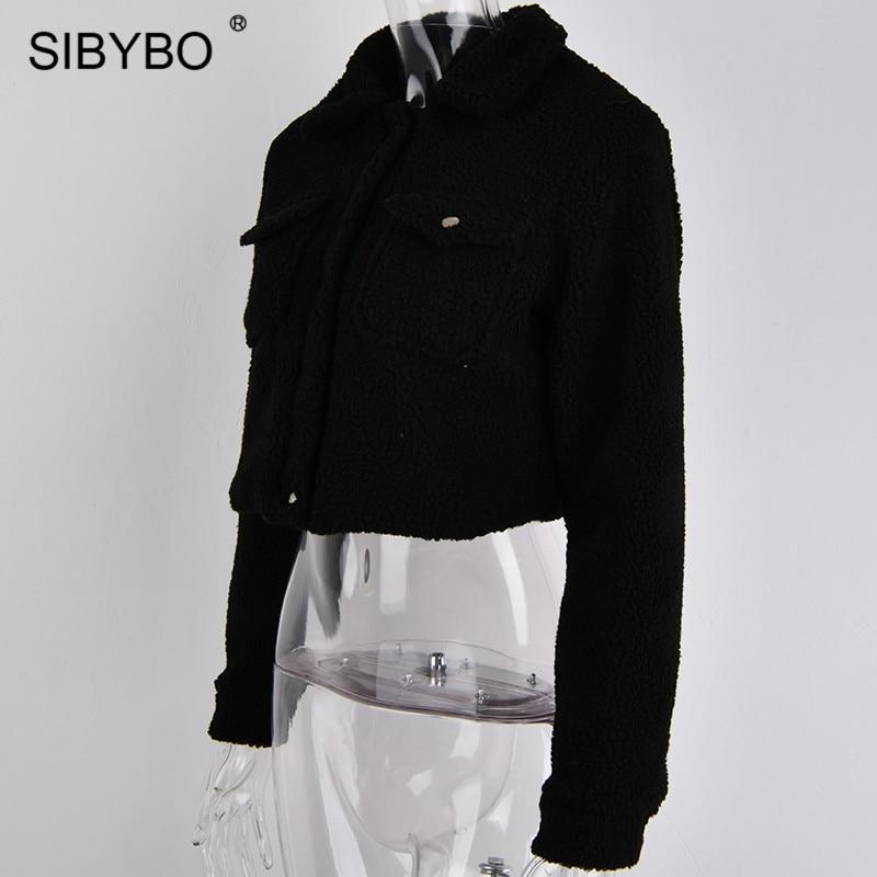 SIBYBO Teddy Cozy Autumn Winter Women Coats and Jackets Long Sleeve Slim Crop Top Women Pockets Warm Casual Short Jacket Women