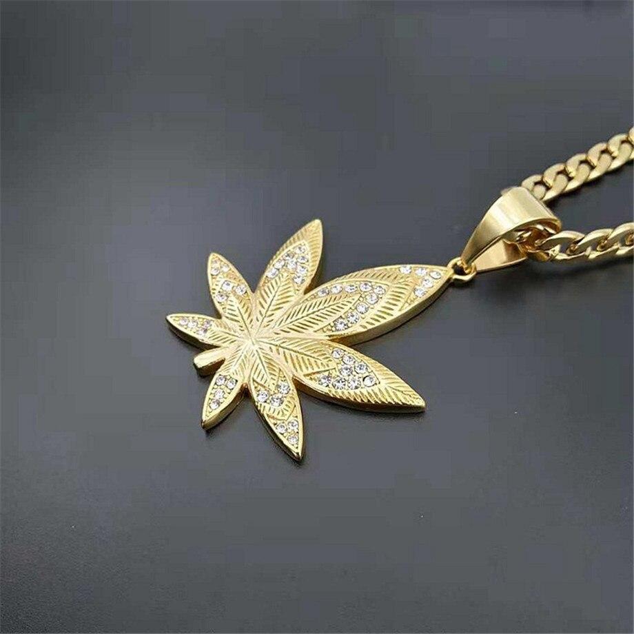 Image 4 - European Hemp Leaf Pendant Necklaces For Men Gold Color Stainless  Steel Rhinestones Necklaces Hippie Jewelry DropshippingPendant  Necklaces