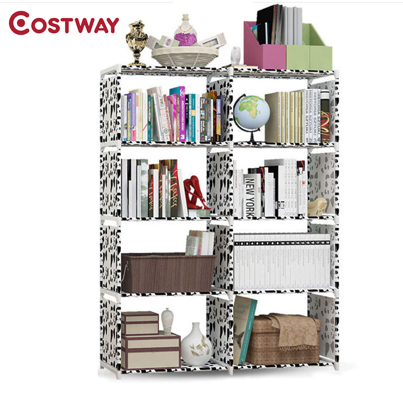COSTWAY Fashion Simple Non-woven Bookshelves Four-layer Dormitory Bedroom Storage Shelves Bookcase Boekenkast Librero W0117 360 degree rotation simple bookshelves multi storey floor bookcase shelves children s dormitory shelter