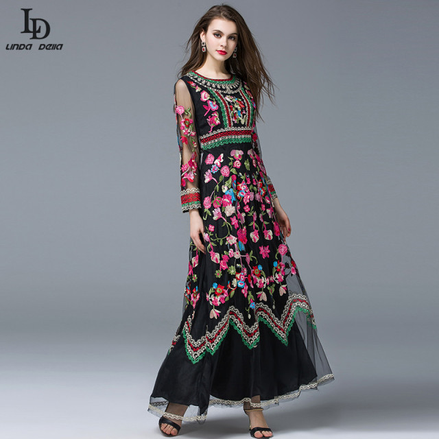 Classic Autumn Winter Long sleeve Gauze Retro Noble Floral Embroidery Long Dress