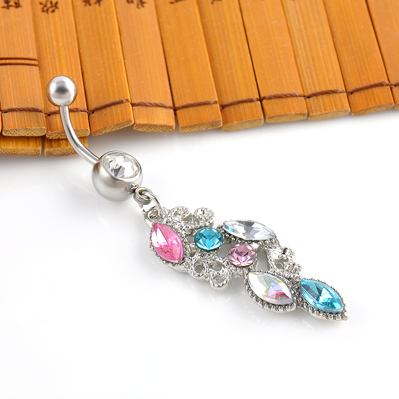 New Stainless Steel Colorful Rhinestone Crystal Belly Button Ring Dangle Navel Body Jewelry Piercings Tassel Free shipping