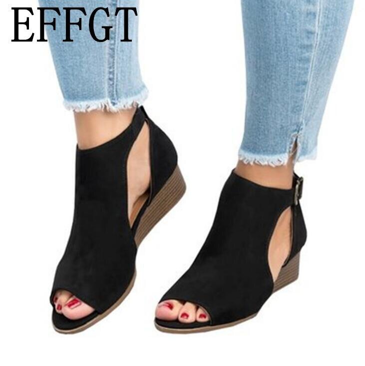 EFFGT 2019 Woman wedge buckles fish mouth sandals gladiator women sandals mid heel sandals ladies summer Innrech Market.com