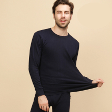 New 100% Cotton Winter Round Neck Warm Long Johns Set For Men Ultra-Soft Solid Color Thin Thermal Underwear Men's Pajamas