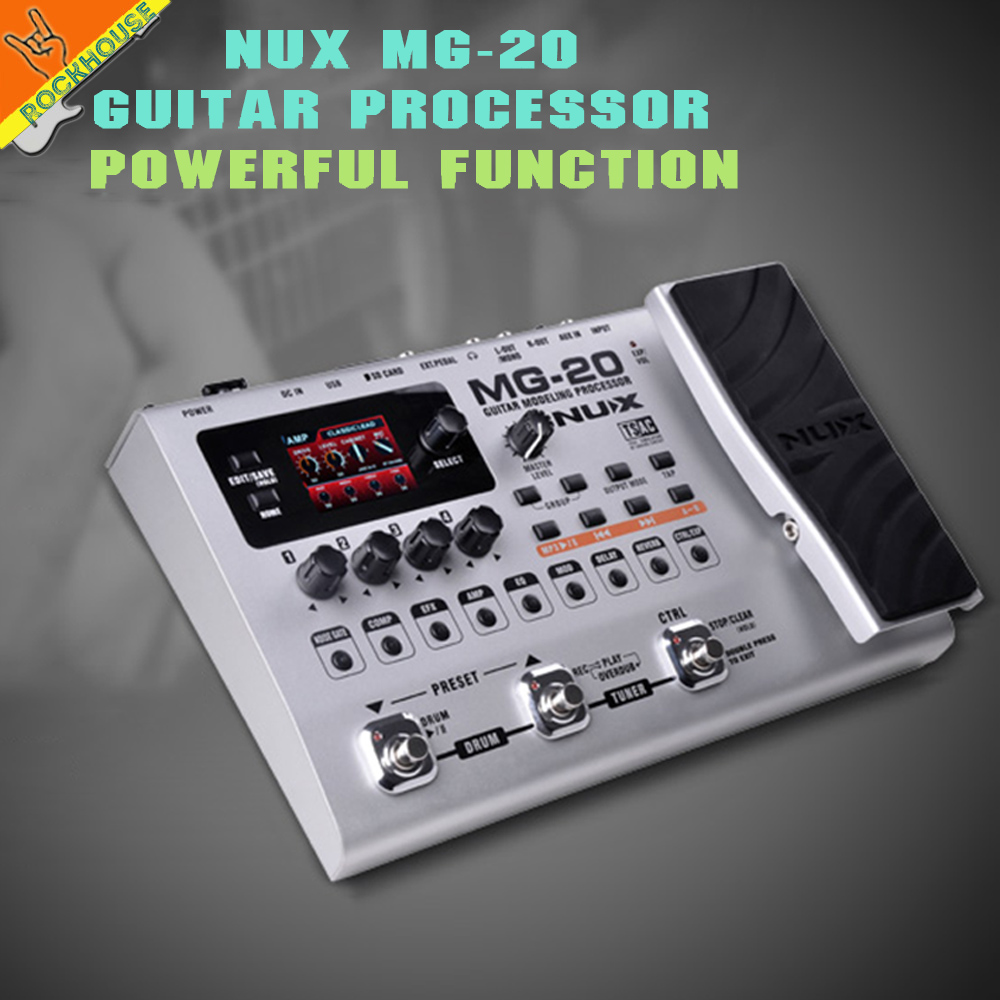 NUX MG-20 Guitar Multi-effects Pedal Guitarra Modeling Processor Effects 60 Effect Models 36 User Presets 36 Factory Presets