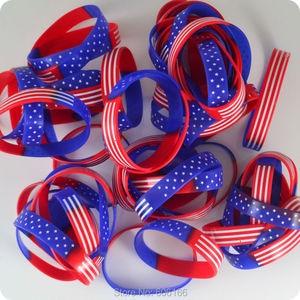 Image 2 - 50pcs  USA American Flag Silicone Bracelets Wristband Stars and Stripes Fashion Jewelry