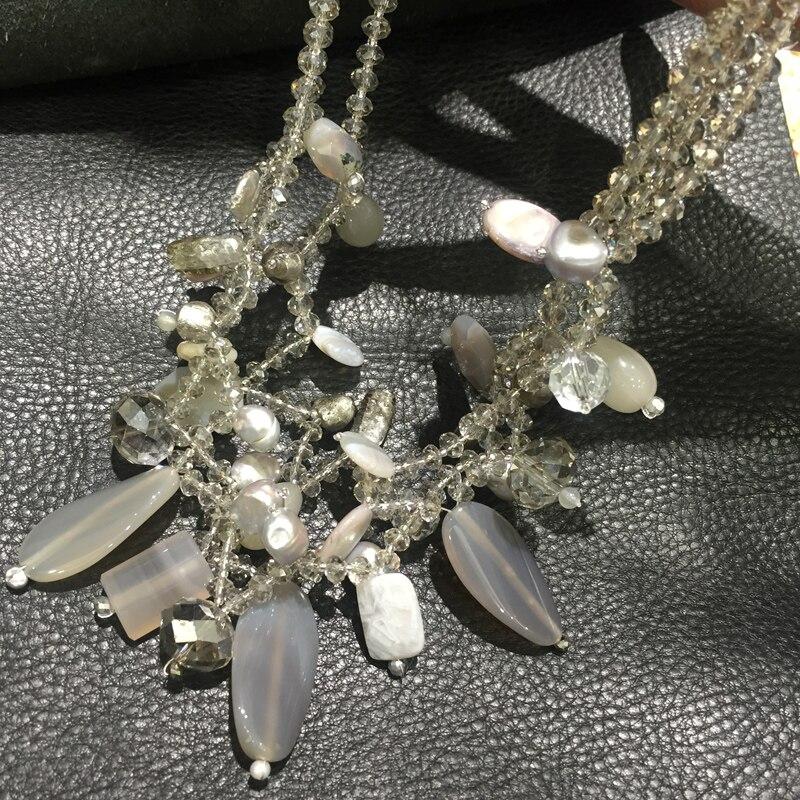 Collier en pierre semi-précieuse naturelle différents matériaux collier de couleur grise 50 CM mode femmes bijoux livraison gratuite
