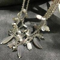 Naturale semi-preziosa collana di pietra collana di colore diverso materiale grigio 50 CM moda monili delle donne spedizione gratuita