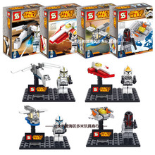 SY212 Star War Clone Storm Soldier Soldier Micro Fighter 4Piece/lot Minifigure Building Block Toys   Brick Gift