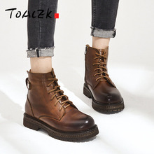 Autumn winter new European and American womens Martin boot top layer cowhide fashion short boots