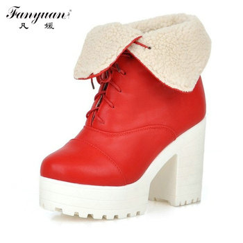 Retro Round Toe Woman Sexy Square High Heel Ankle Boots Sexy Casual Warm Fur Lace Up Winter Dress Shoes Plus Size 34-42
