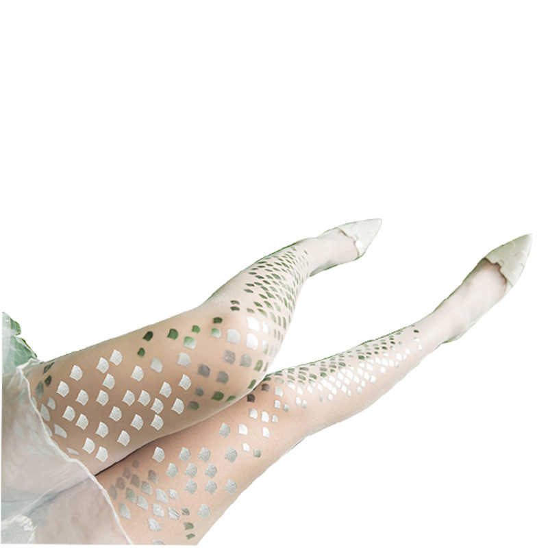 Summer Fashion Silver Sequins Women 15D Style Shiny Mermaid Bikini Flakes Silk Stockings Tights Base  Female Tights Print
