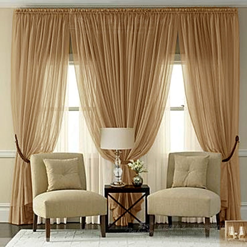 Custom European Luxury Villa Living Room Voile Curtains