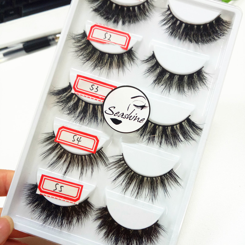 Handmade Cotton Stalk Terrier 3D Mink False Eyelashes Crisscross Messy Soft Eyelashes Stage Makeup Lashes 5pairs for one set