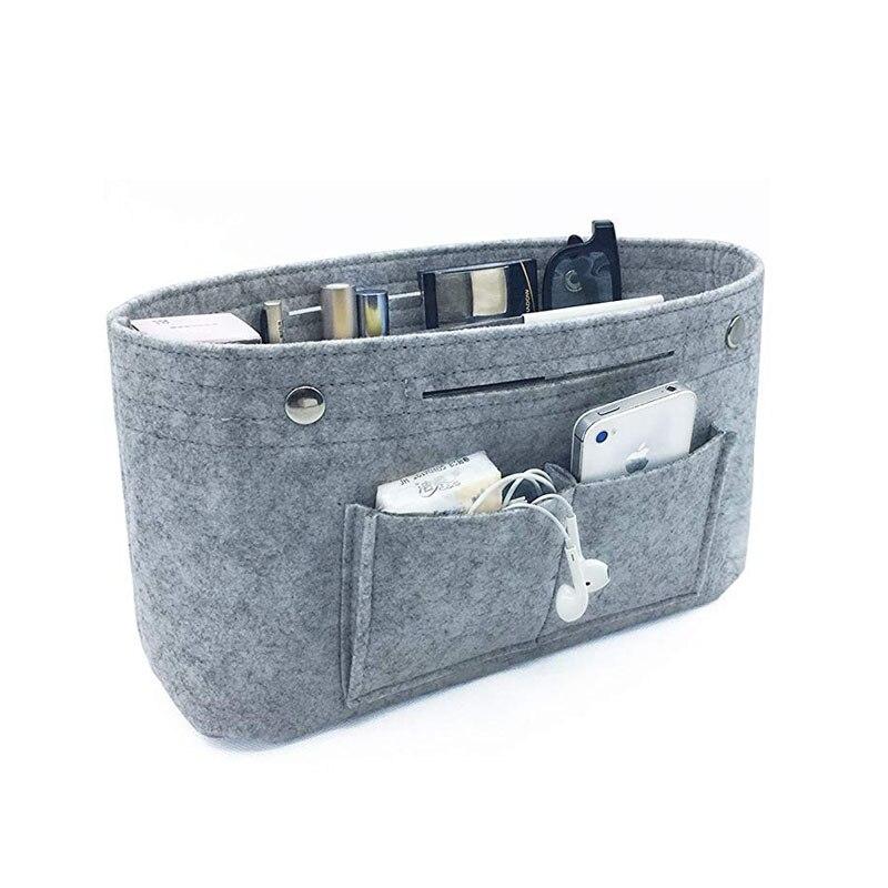 Organizador de almacenamiento de maquillaje, fieltro tela insertar bolsa de cosméticos bolsillos Fit en bolso cosmético bolsa para organizador de viajes