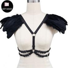 Новые крылья Эластичный черный body harness перо плечами жгут бюстгальтер погоны Edgy fashion body harness кейдж бюстгальтер плечо аксессуары