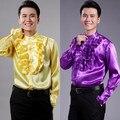 Мужская сторона кружева рубашки мужские и женские костюмы хор рубашка Ежегодный Гала