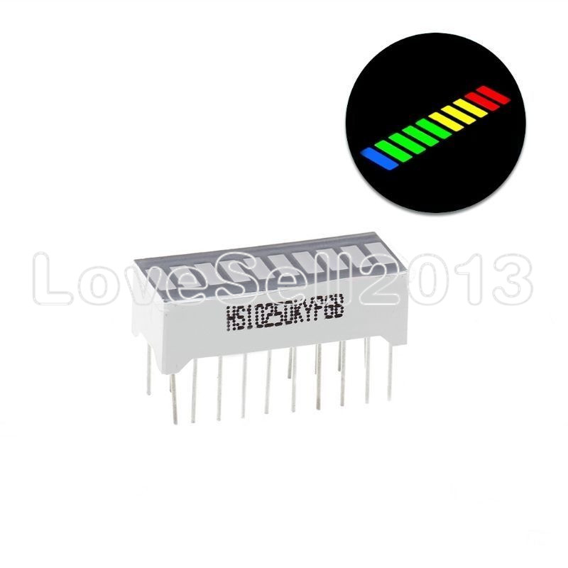 5PCS 10 Segment 4 Color LED Battery Level Bar Graph Power Display Indicator Module Red Yellow Green Blue Multi-color 5V Light