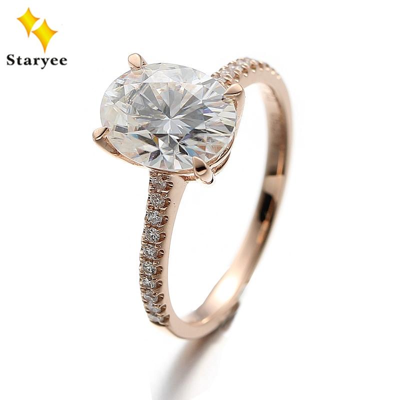 Colorless 2ct Oval Cut VVS DEF Color Charles Colvard Moissanite Wedding Ring 18K Au750 Rose Gold