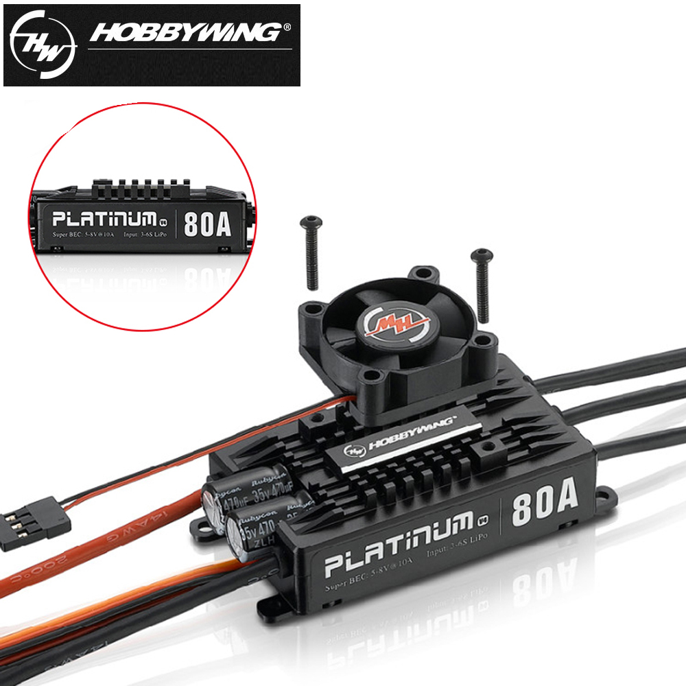 1pcs Hobbywing Platinum Pro V4 80A 3-6S Lipo BEC Empty Mold Brushless ESC for RC Drone Aircraft Helicopter