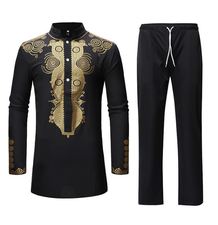 Mode Style africain vêtements ethnique imprimé hommes costume Top + pantalon