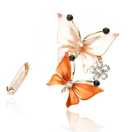 Designed Butterfly Crystal Brooch For Women