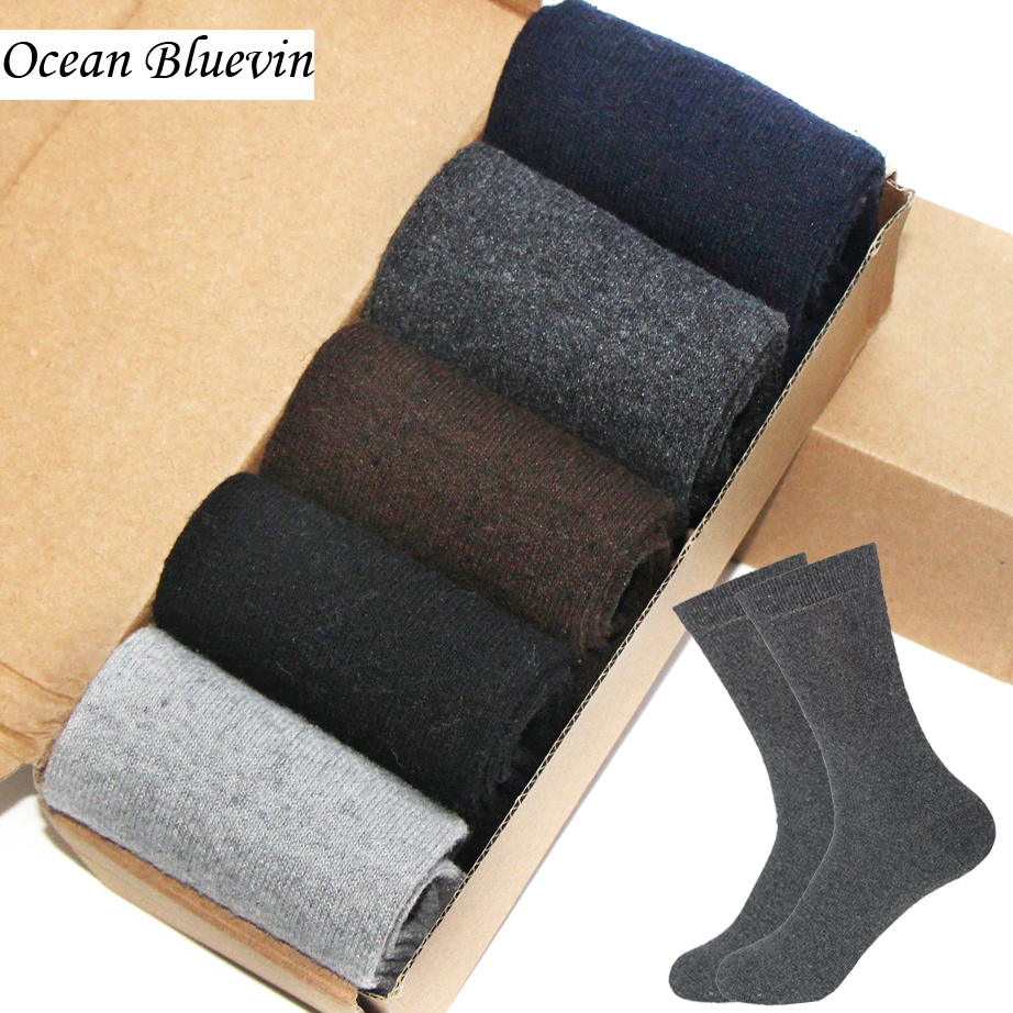 Rabbit Wool Fashion Quality Knitted Mens Socks Autumn Winter Warm Thick Style Solid Pure Pattern Soft Business Casual Sock Meias