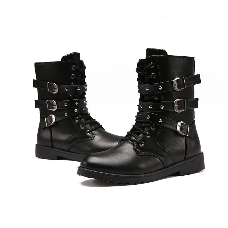2018 New boots PUNK Rock Spring mens Martin boots high tube boots long boots fashion hor ...