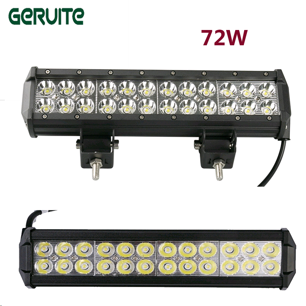 1pc 12 inch 5700LM 72W LED Light Bar offroad Truck Trailer 4x4 4WD SUV ATV Off Road spot worklight Lamp flood Spot combo Beam