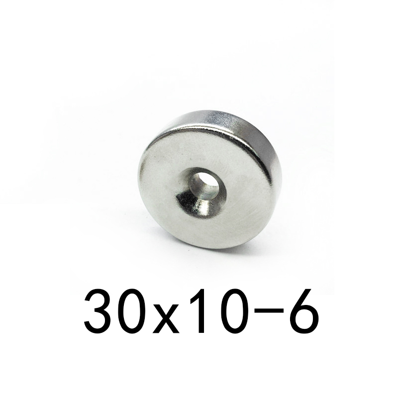 1pcs <font><b>30x10</b></font> mm Hole: 6mm super Strong Round <font><b>Neodymium</b></font> Countersunk Ring <font><b>Magnets</b></font> Rare Earth <font><b>30x10</b></font>-6 30mm x 10mmhole 6mm image