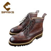 Sipriks luxury patina leather brogues boots with thick rubber soled vintage wingtip dress boots red brown leather martin boots