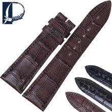 Pesno Men Watchband Black Brown Dark Brown Alligator Leather Watch Strap Suitable for Blancpain VILLERET Watch