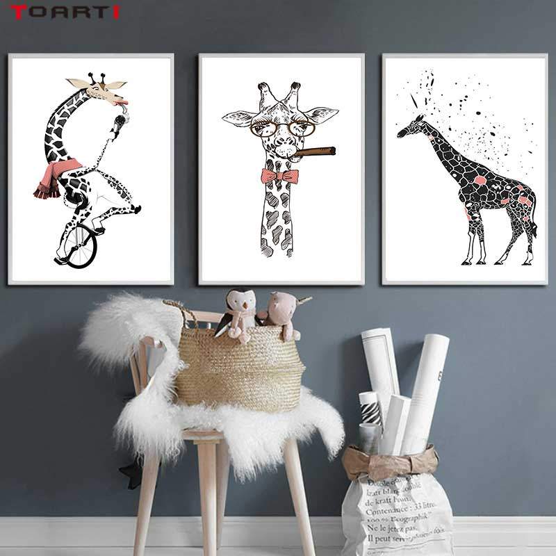 Image 2 - Cool Giraffe With Cigar Prints Posters Cartoon Animals Canvas Painting On The Wall For Kids Living Room Home Decor Art Pictures-in Painting & Calligraphy from Home & Garden