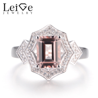 LeiGe Jewelry Natural Pink Morganite Engagement Rings Emerald Cut Pink Gemstone Ring Solid 925 Sterling Silver Fine Jewelry