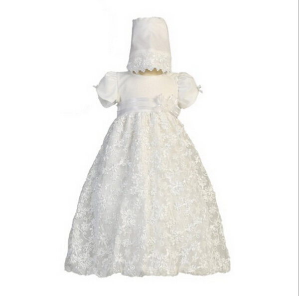2016 White/Ivory Baptism Baby Infant Christening Gowns Long Dress Princess First Communion Dresses WITH BONNET