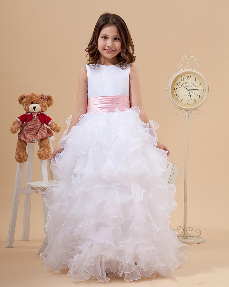 Little Princess Ruffles A-Line Satin and Organza White   Flower     Girl     Dresses   for Weddings Party with Pink Bowknot Sash Custom Made