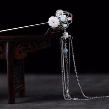 3Designs Charming Gold/Silver Crystal Flower Hair Stick Chinese Traditional Handmade Long Metal Tassels Hair Jewelry Accessories
