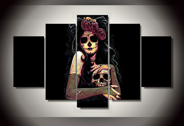 5 Pieces Canvas Prints Skull Day of the Dead Face Painting Wall Art Home Decor Panels & 5 Pieces Canvas Prints Skull Day of the Dead Face Painting Wall Art ...